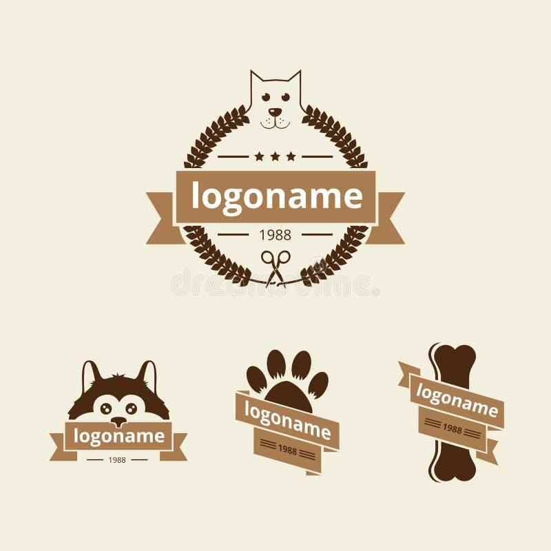 Hundlogo royaltyfri illustrationer