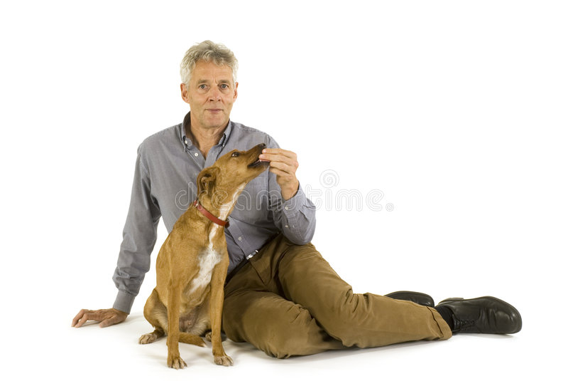 hundmanpensionär royaltyfria bilder