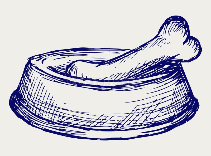 Hundmaträtt och ben stock illustrationer