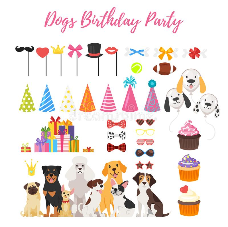 Hundparti och födelsedagbeståndsdelar vektor illustrationer