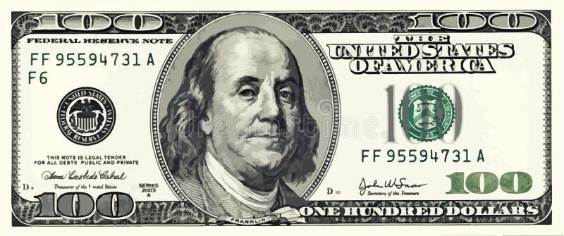 Hundra dollar Bill Illustration Vector stock illustrationer