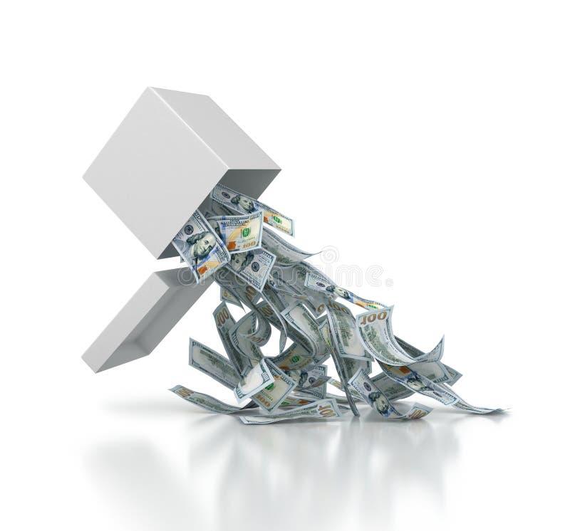 Hundra dollar räkningar som faller ut ur den vita asken, isolerade 3d vektor illustrationer