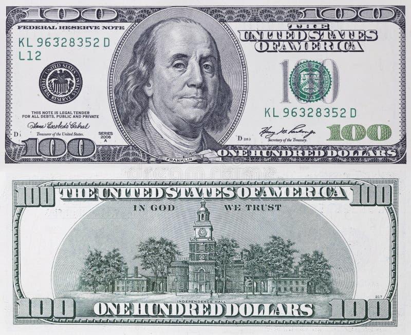 Hundra dollar sedel royaltyfria foton