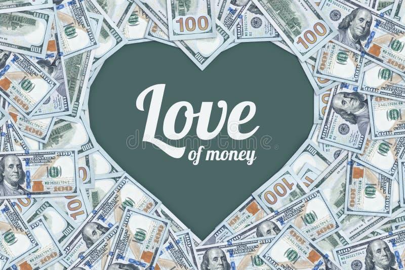 Hundra dollarräkningar i formen av en hjärta, förälskelsen av pengar royaltyfri fotografi