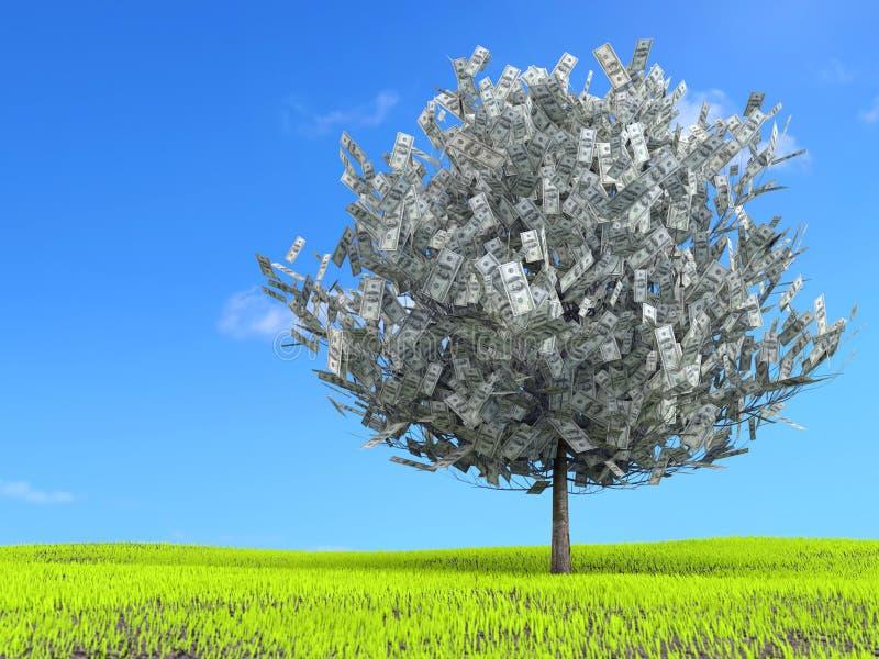 Hundra dollarträd på äng stock illustrationer