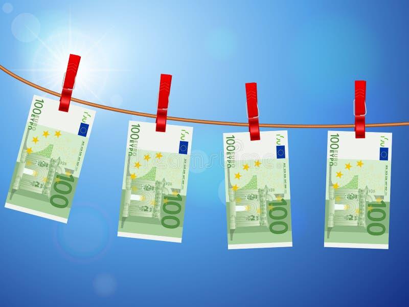 Hundra eurosedlar på klädstreck stock illustrationer