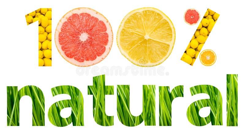Hundra procent naturliga frukter vektor illustrationer