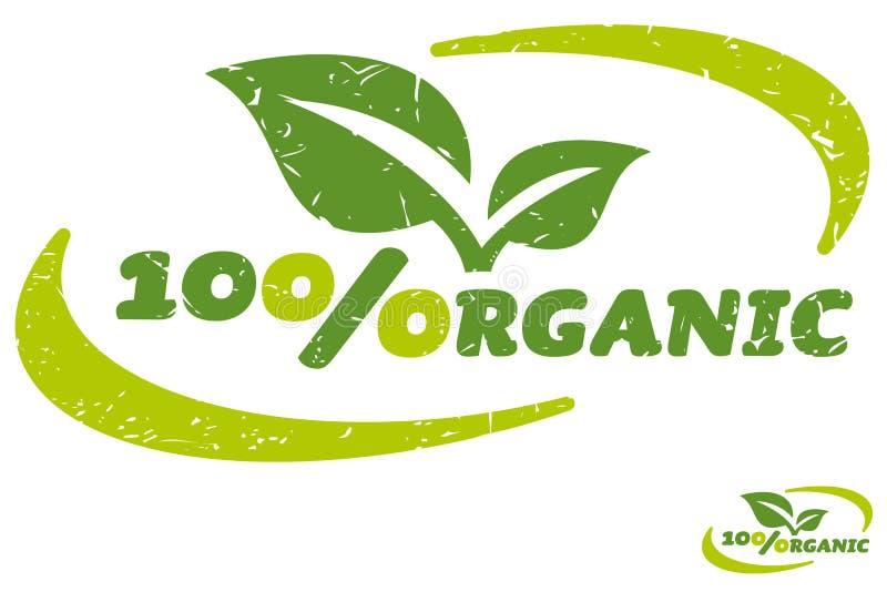 Hundra procent organisk etikett stock illustrationer