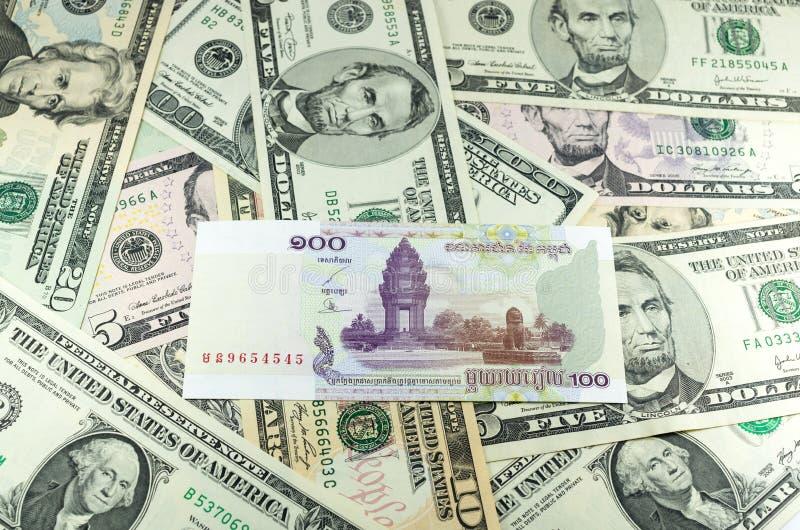 Download Hundred Cambodian Riel (KHR) On Many Dollars Background Stock Image - Image: 34683263