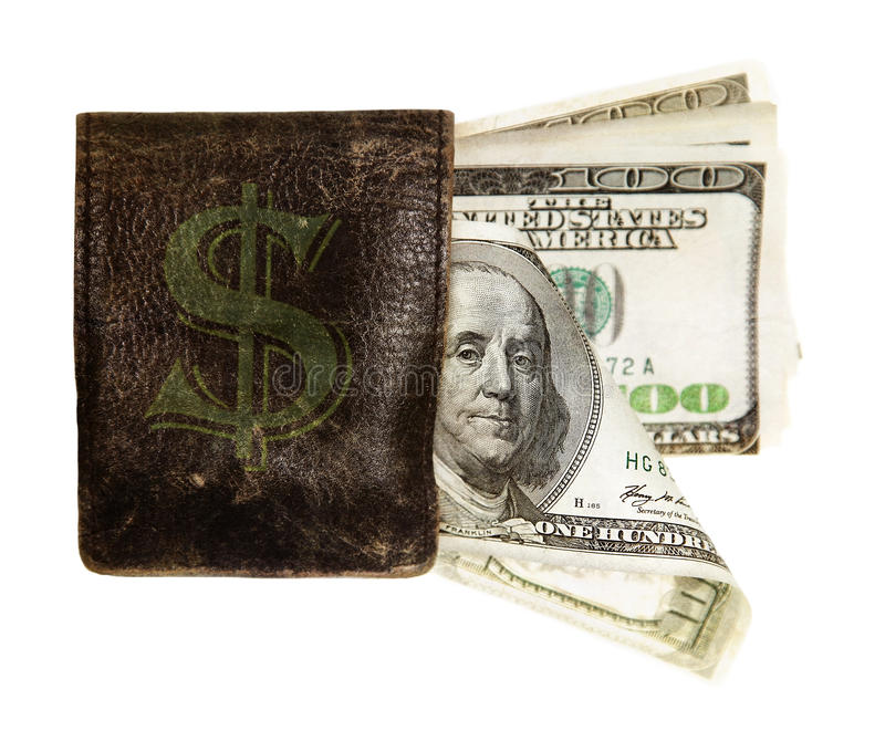 Hundred Dollar Banknotes In The Purse Royalty Free Stock Images