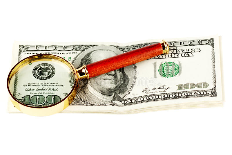Download Hundred Dollar Bill Under A Magnifying Glass Stock Image - Image: 22914193