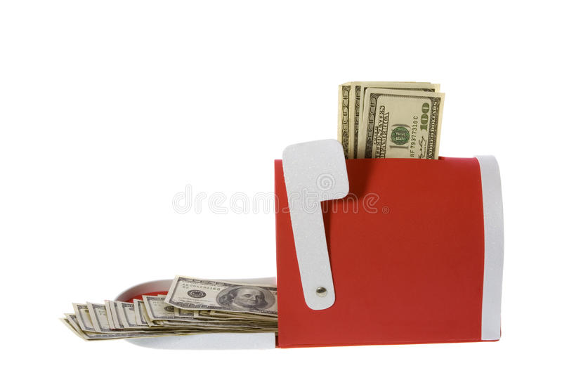 Hundred Dollar Bills Flowing Mailbox Royalty Free Stock Photography