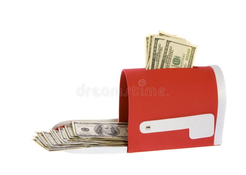 Hundred Dollar Bills Flowing Mailbox stock image
