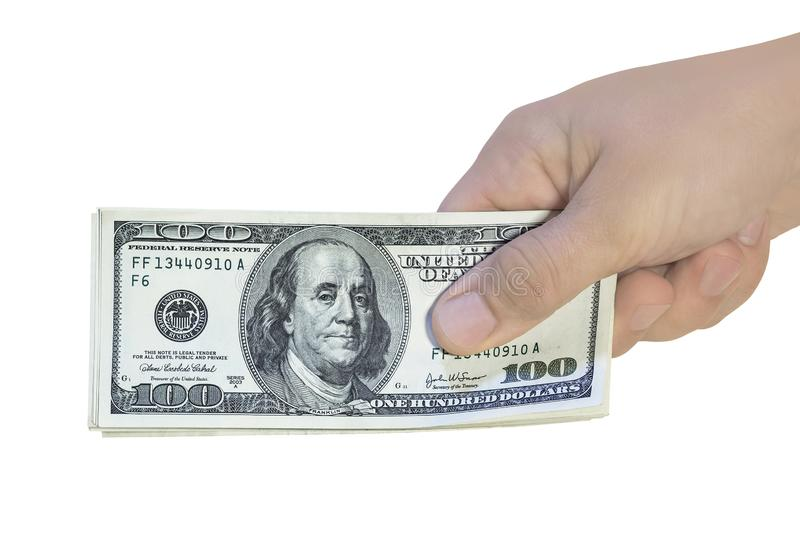 Hundred dollar bills in hand. Giving american money cash, isolated on white royalty free stock images