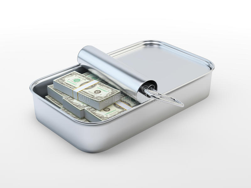 Hundred dollar bills in a tin can. Hundred dollar bills in an open tin can royalty free illustration