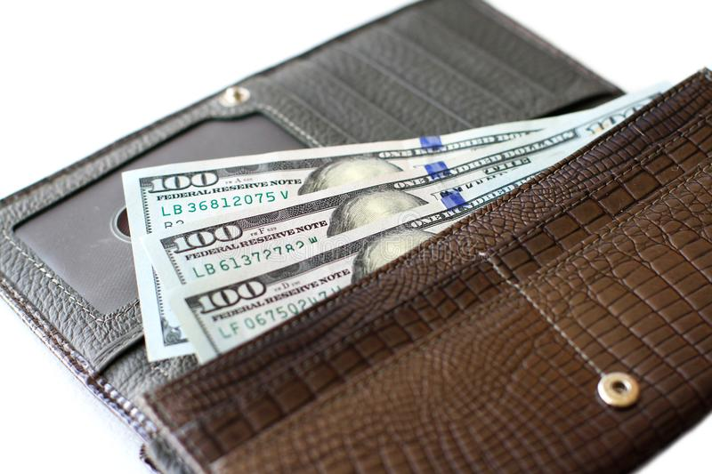 Hundred dollar bills in wallet royalty free stock images