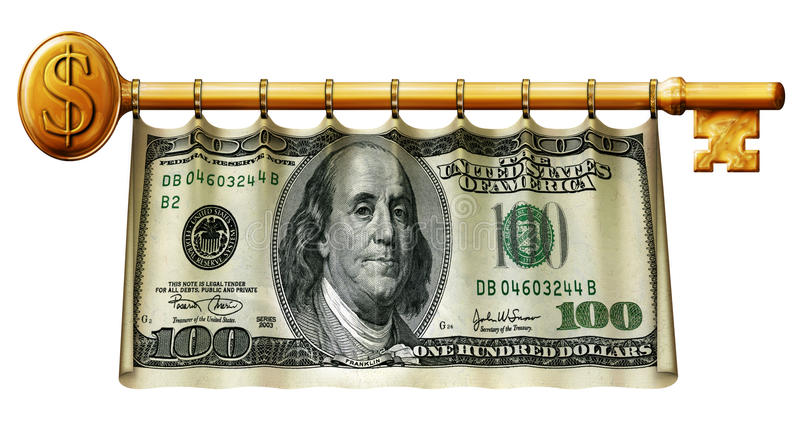 Hundred Dollar Key Banner. Photo Illustration of a 50 dollar bill retouched and re-illustrated as a banner hanging on a gold key royalty free illustration