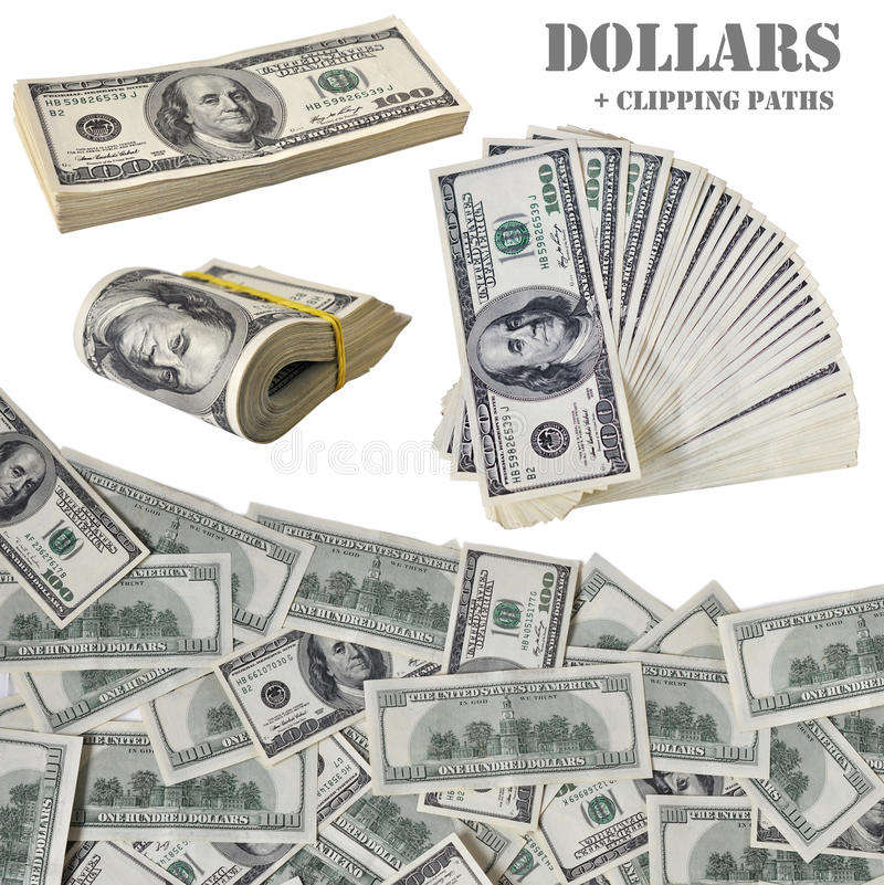 Hundred dollar notes with clipping paths royalty free stock photos
