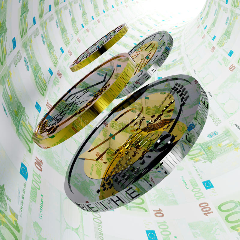 Hundred Euro Tunnel. A lot of coins are rolling in a money tunnel royalty free illustration