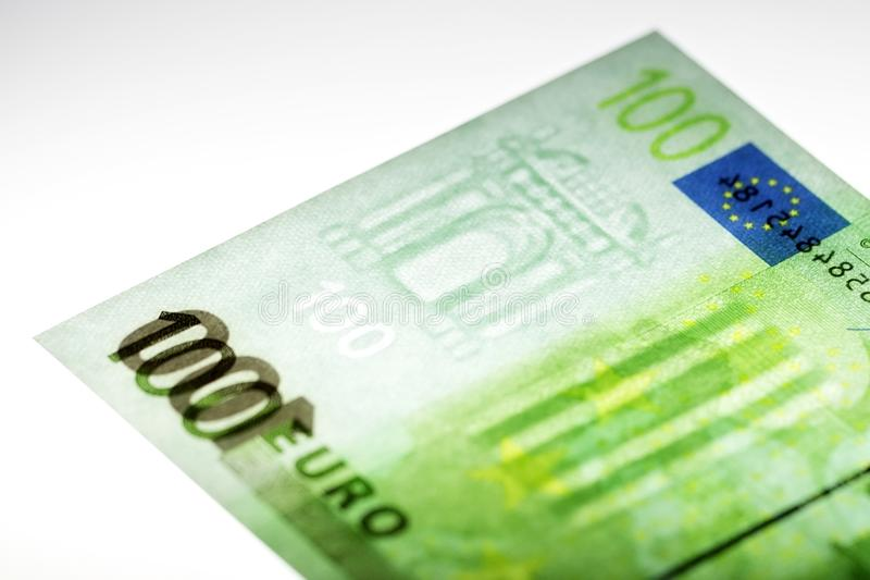 Hundred Euro with a watermark. A business background stock image