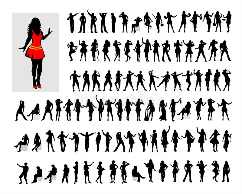 Hundred female silhouettes. Hundred black female silhouettes on a white background stock illustration