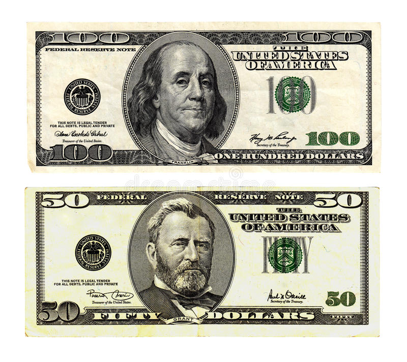 Hundred And Fifty Dollars Bills On White Background. Stock Photo