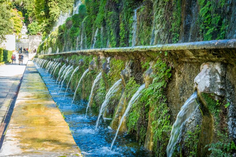 The Hundred Fountains in Villa d`Este in Tivoli. stock images