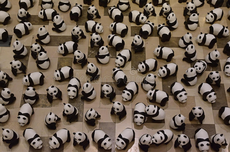 Hundred of Panda or Pandas on display to raise awareness. Hundred of Panda or Pandas on display as part of the '1600 Pandas World Tour' exhibition