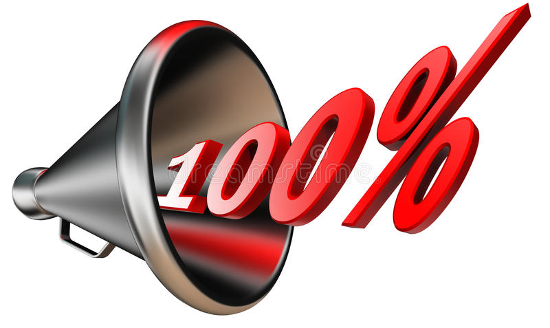 Hundred per cent red symbol. Hundred per cent 100% red symbol in bullhorn isolated on white background. clipping path included vector illustration
