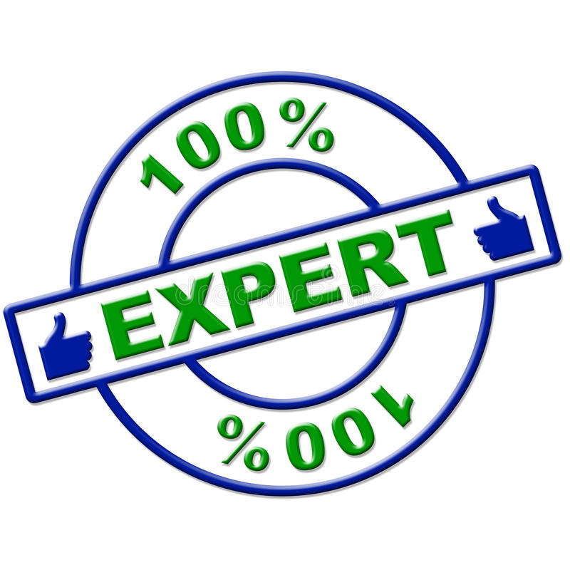 Hundred Percent Expert Means Excellence Completely And Skills. Hundred Percent Expert Representing Proficiency Training And Expertise vector illustration