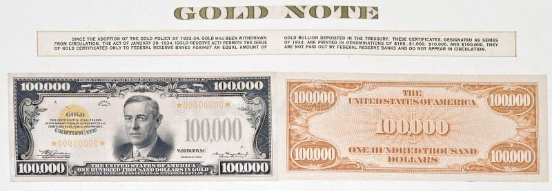 Hundred thousand dollar bill royalty free stock image