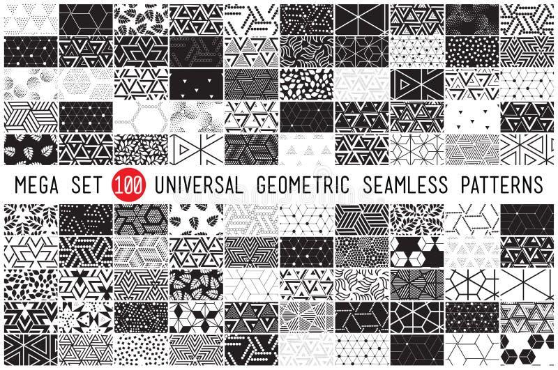 Hundred universal different geometric seamless patterns stock illustration