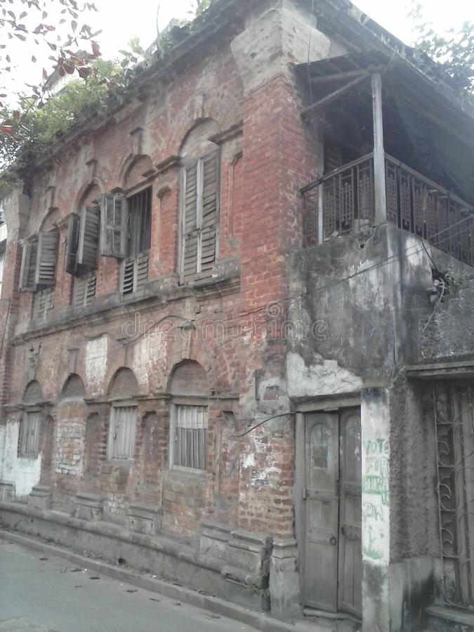 Hundred years old house in in India city Kolkata. Big house old is gold royalty free stock photo