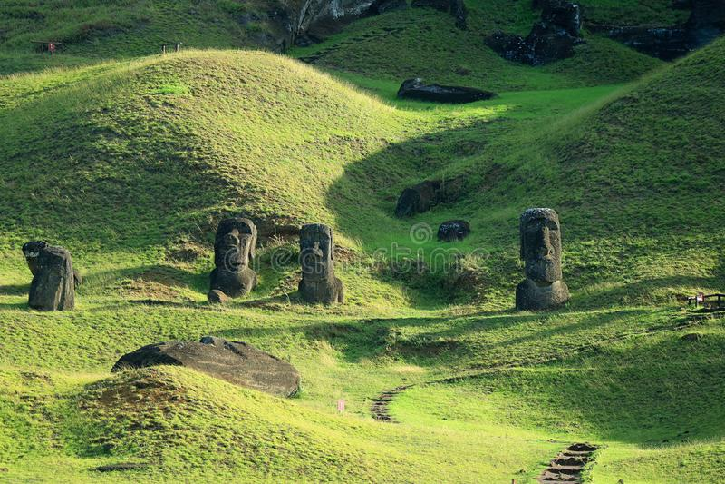 Hundreds of abandoned Moai statue on Rano Raraku volcano, Easter Island, UNESCO World Heritage site of Chile. Hundreds of abandoned Moai statue on Rano Raraku royalty free stock images