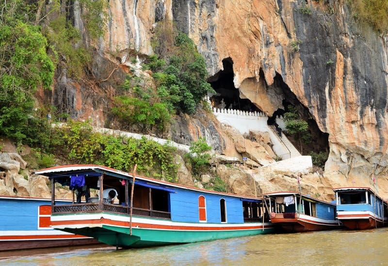 Hundreds of Buddha statues inside Pak Ou Caves, Luang Prabang in Laos royalty free stock image