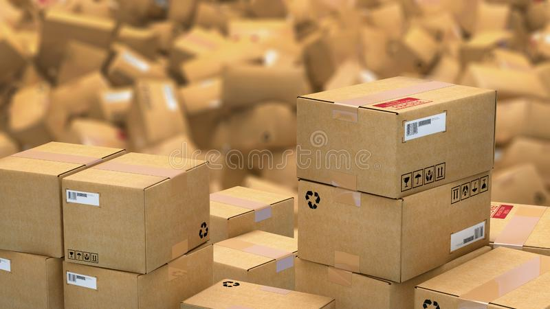 Hundreds of cardboard parcels lying on a heap stock illustration