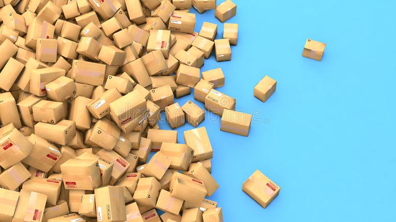 Hundreds of cardboard parcels lying on a heap. 3d illustration of hundreds of cardboard boxes lying on a heap royalty free illustration
