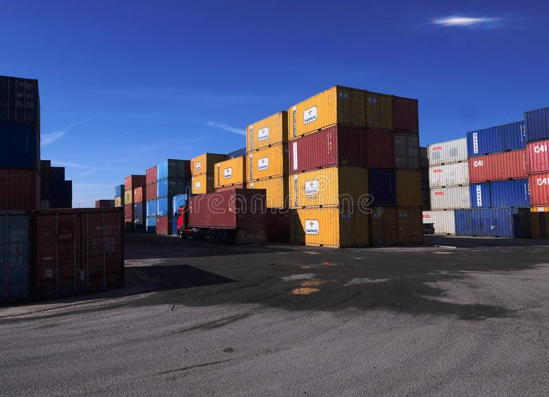 Hundreds of containers stacked on piles royalty free stock photos