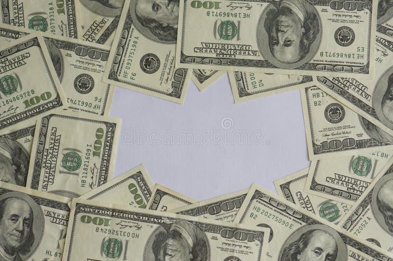 Hundreds of dollars frame. A frame made up of one hundred dollar bills stock photo