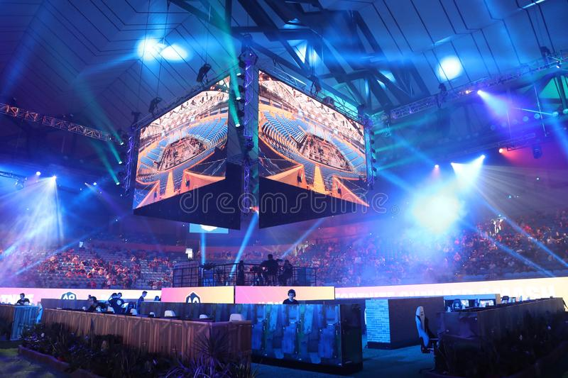 Hundreds Fortnite gamers compete during Fortnite Summer Smash at Australian Open 2019 in Melbourne. stock images