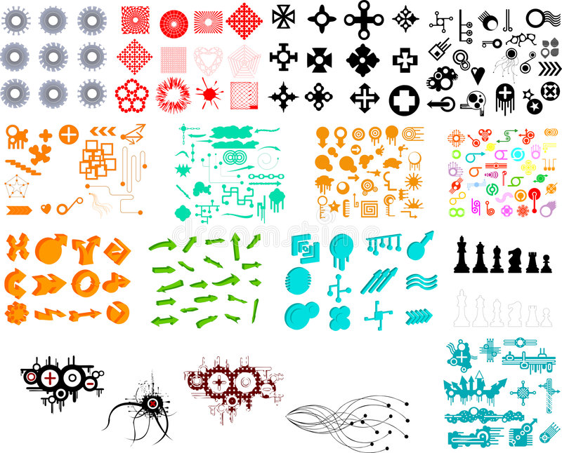Hundreds of graphic elements vector illustration