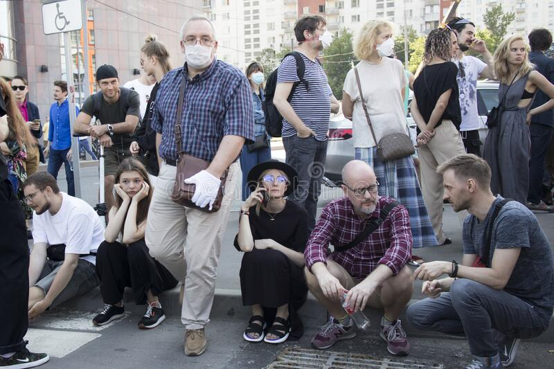 Hundreds of people gathered outside the court behind police barriers before the verdict was handed down Friday morning stock photography