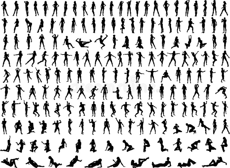 Hundreds of People Silhouettes stock illustration