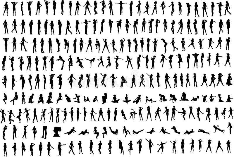 hundreds s silhouettes kvinnor vektor illustrationer