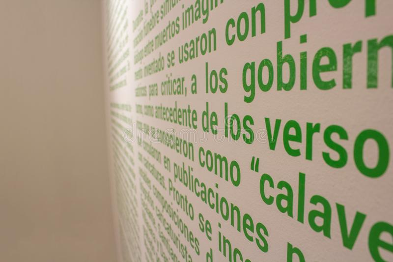Hundreds of words written on the wall stock photos