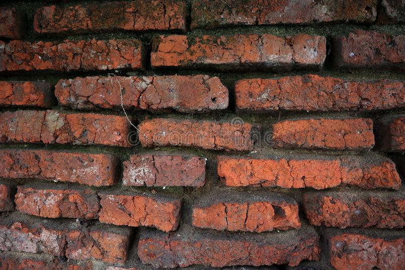 Hundreds of years old red brick walls are still intact and durable. Located in the old town complex of Semarang stock images