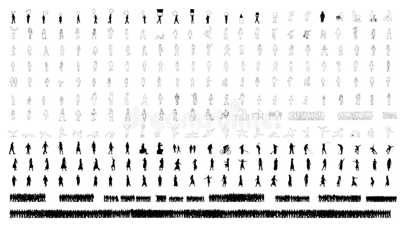 hundredsfolk stock illustrationer