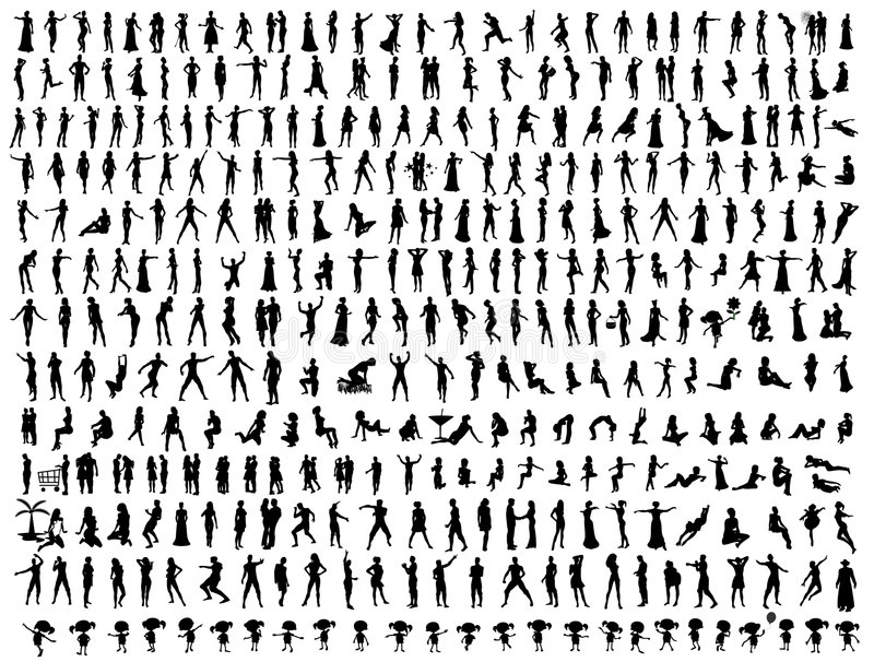 hundredsfolksilhouettes vektor illustrationer