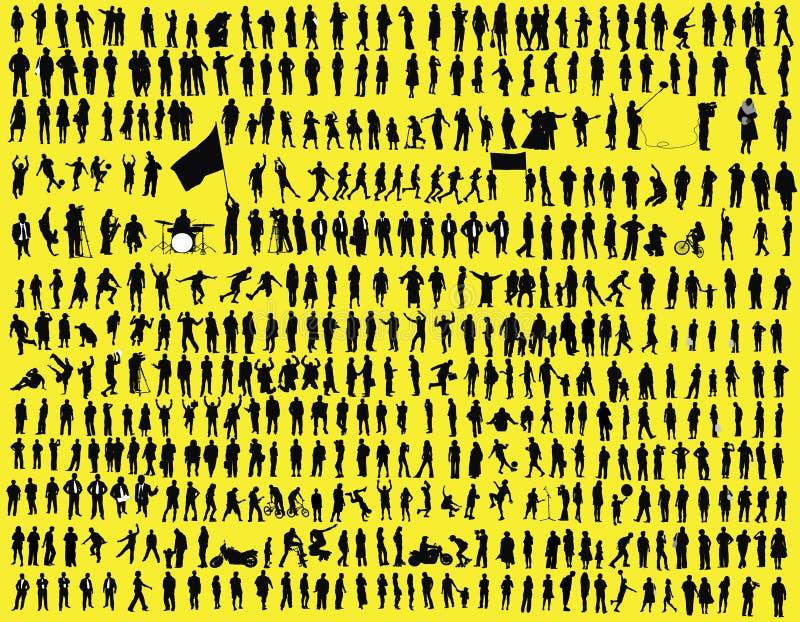 hundredssilhouette stock illustrationer