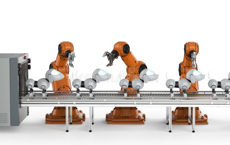 Hundrobotproduktionslinje vektor illustrationer